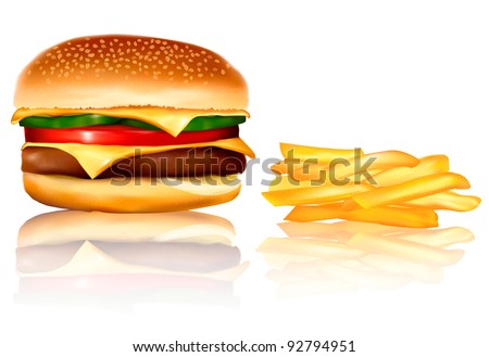 Hamburger and french frie. Vector. - stock vector