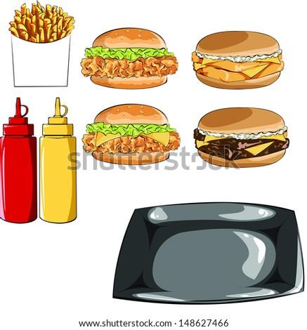hamburger and fries - stock vector
