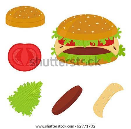 hamburger and ingredients of hamburger - stock vector