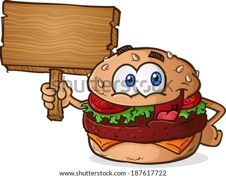 Hamburger Cheeseburger Cartoon Character Holding a Wooden Sign - stock vector