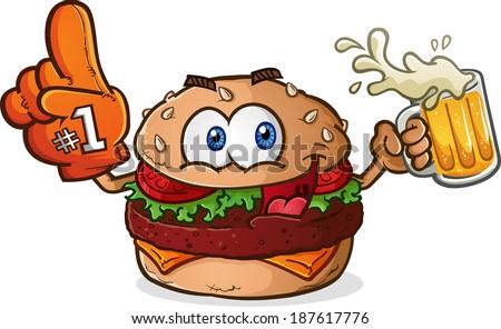 Hamburger Cheeseburger Sports Fan Cartoon Character Drinking Beer with a Foam Finger - stock vector
