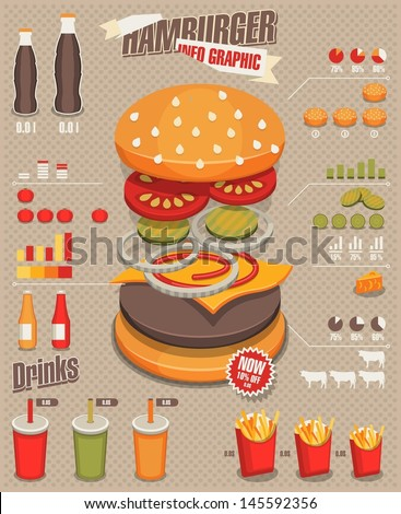 Hamburger & fast food info graphics - stock vector