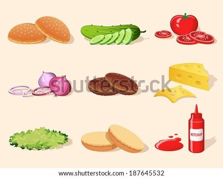 Hamburger food ingredients elements set of bread ketchup salad tomato isolated vector illustration - stock vector