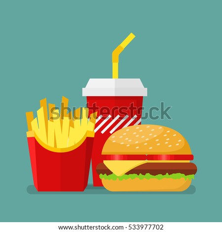 Hamburger French Fries and Soda. Vector illustration