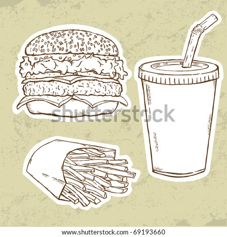 Hamburger, Fries and Drink