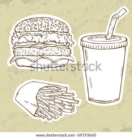 Hamburger, Fries and Drink - stock vector