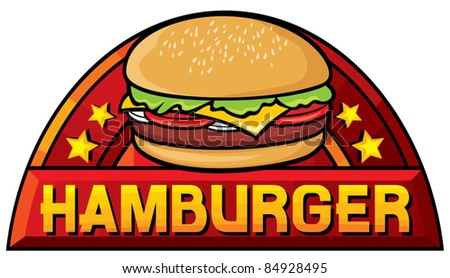 hamburger (hamburger sign, label, design) - stock vector