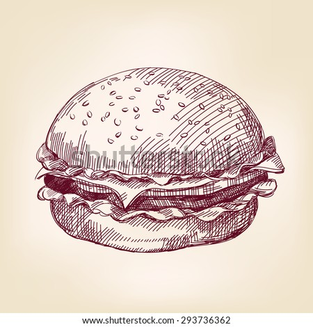 hamburger hand drawn vector llustration realistic sketch - stock vector