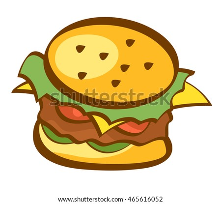 Hamburger icon. Burger, fast food sign. Trendy cartoon style design. Isolated vector illustration