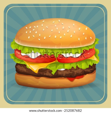 Hamburger icon with meat, lettuce, cheese and tomato - stock vector