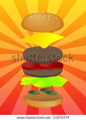 Hamburger illustration, layered burger with cheese vegetables - stock vector