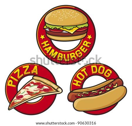 hamburger label, pizza (pizzeria) label, hot dog label. fast food symbols - stock vector
