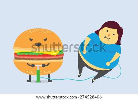 Hamburger make you fat fast with air pump - stock vector