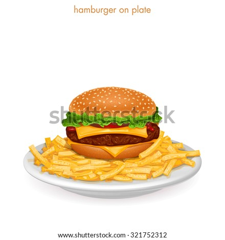 Hamburger on plate with french fries