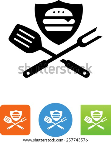 Hamburger on shield with grilling tools. Vector icons for video, mobile apps, Web sites and print projects.