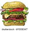 hamburger - painted handmade sketch - stock vector
