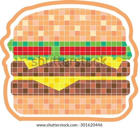 Hamburger Pixels Vector Art - stock vector