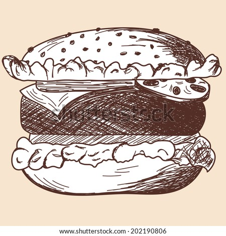 Hamburger sketch. EPS 10 vector illustration without transparency.  - stock vector