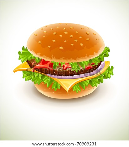 hamburger with cheese, lettuce, onion and meat rissole. Vector illustration - stock vector