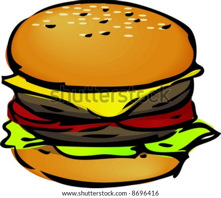 Hamburger with cheese tomatoes and lettuce. hand-drawn lineart sketch - stock vector