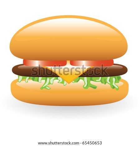 hamburger with meat, cheese, lettuce, tomato - stock vector