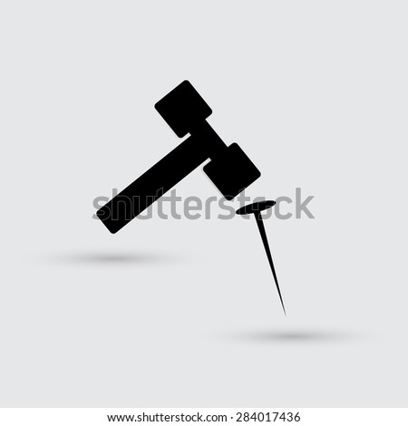 hammer and nail - stock vector