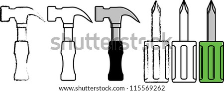 Hammer and screw driver vector