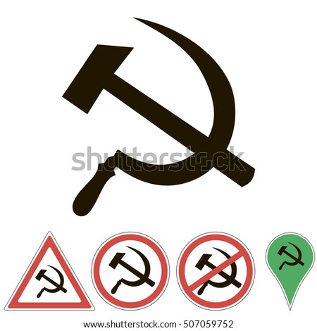 Sign Prohibited Communism Hammer Sickle Emblem Stock ...