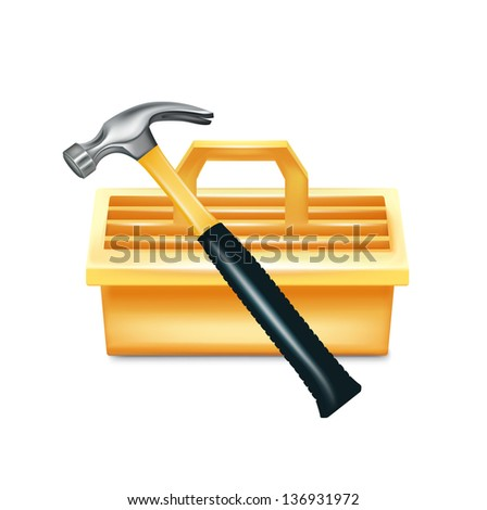 hammer and tool box isolated on white - stock vector