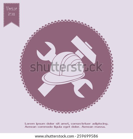 hammer and worker hat flat icon - stock vector