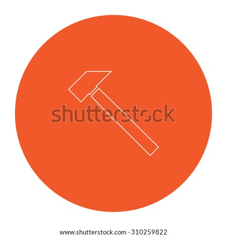 Hammer. Flat outline white pictogram in the orange circle. Vector illustration icon - stock vector