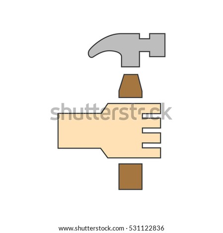 Hammer in Hand Icon Vector Illustration