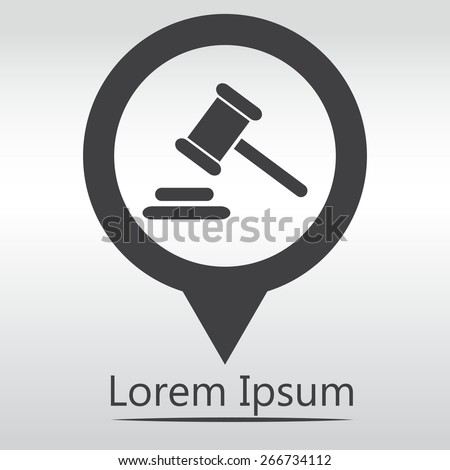 Hammer judge icon. gavel law legal hammer. icon map pin. - stock vector