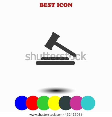 Hammer judge icon. Hammer judge illustration. Hammer judge web. - stock vector