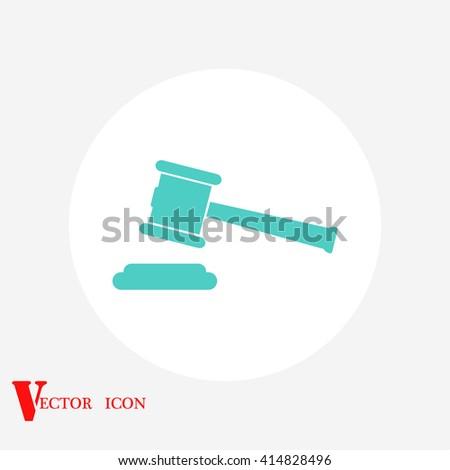 Hammer judge vector icon - stock vector