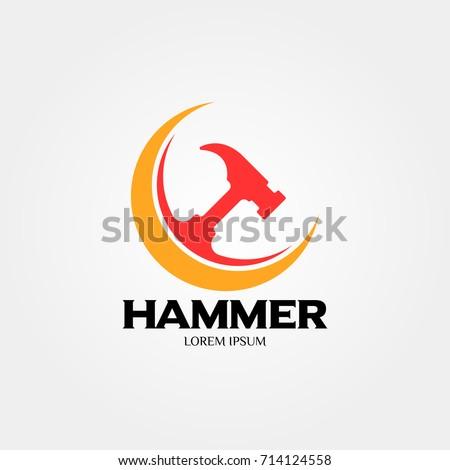 Hammer logo construction maintenance property home stock vector hammer logo for construction maintenance property home repairing business company vector illustration reheart Choice Image
