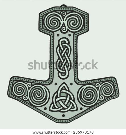 Hammer Thor Viking Magic Warrior Norse Stock Vector Royalty Free