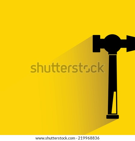 hammer on yellow background, flat and shadow theme design - stock vector