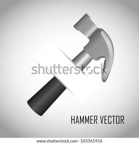hammer over gray background. vector illustration - stock vector