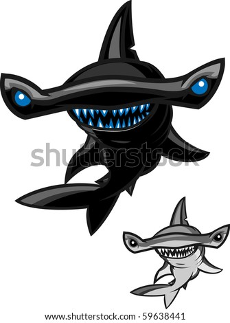 hammerhead shark on the attack! - stock vector