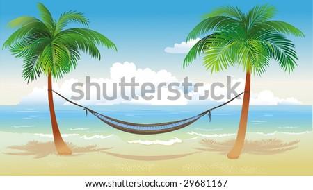 Hammock and palm trees on beach - stock vector