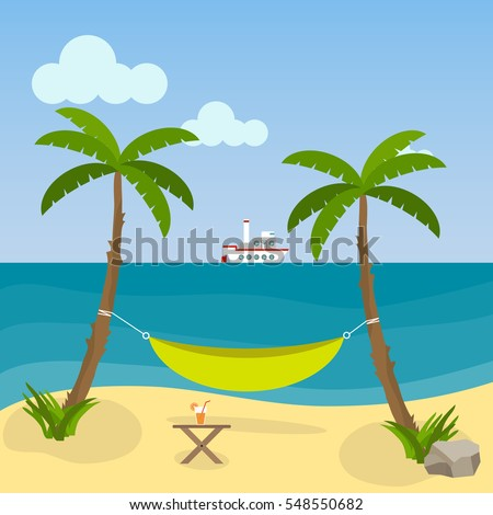 Hammock Between Palm Trees On The Beach Flat Design Vector Illustration