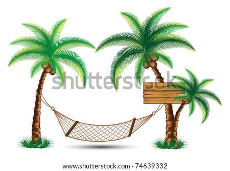 hammock under the palm trees vector - stock vector