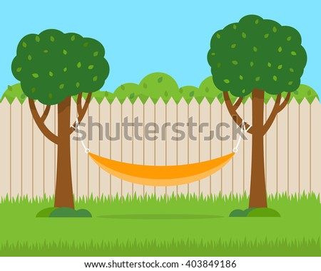Hammock with trees on house backyard. Flat style vector illustration. - stock vector