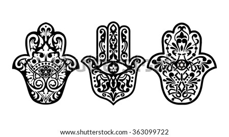 Hamsa hand, Hand of Fatima - amulet, symbol of protection from devil eye - stock vector
