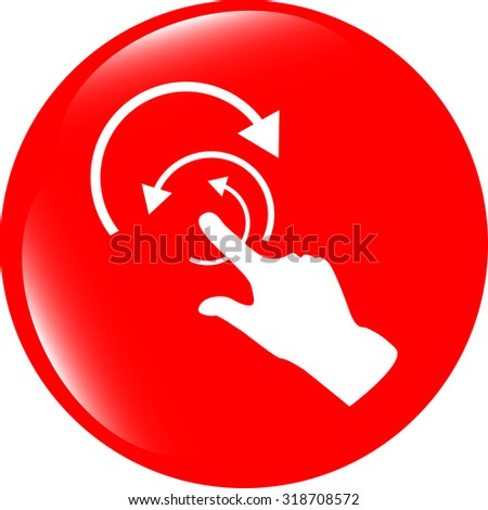 hand and abstract arrow web app button, web icon vector illustration - stock vector