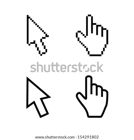 Hand and arrow, smooth and pixel vectors - stock vector