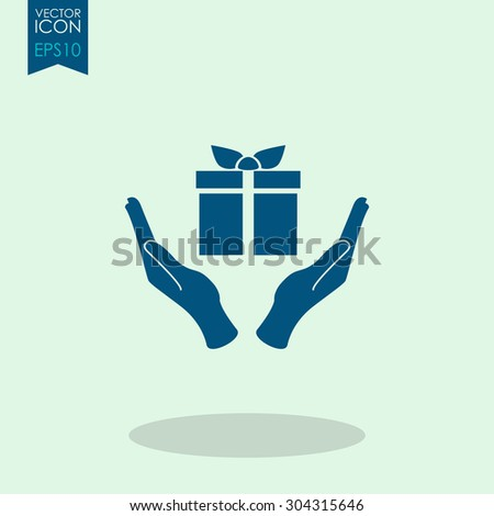 Hand and gift vector icon. - stock vector
