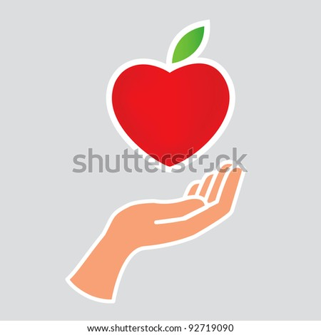 Hand and heart - stock vector