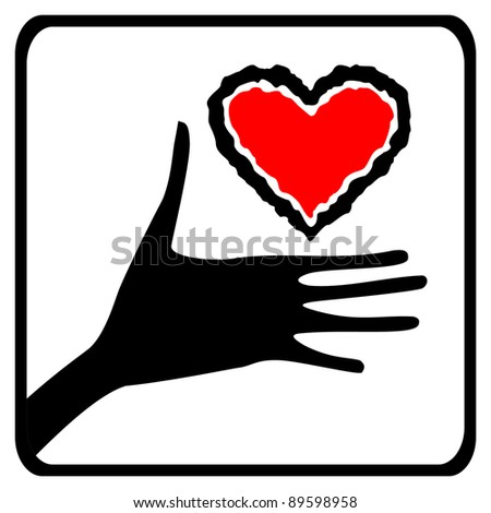 hand and heart icon - stock vector